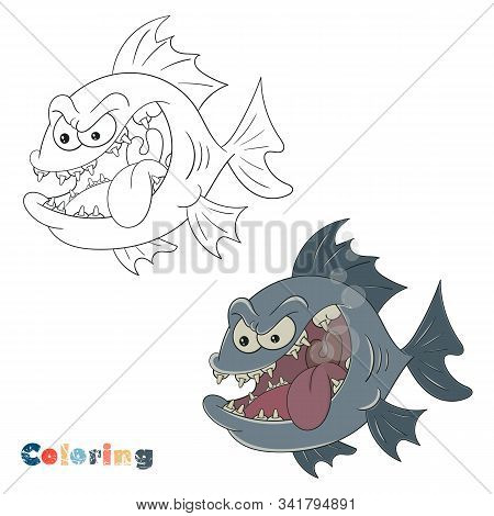 Big Toothy Fish. Vector Coloring On The Theme Of Fishing On A White Isolated Background With Color I