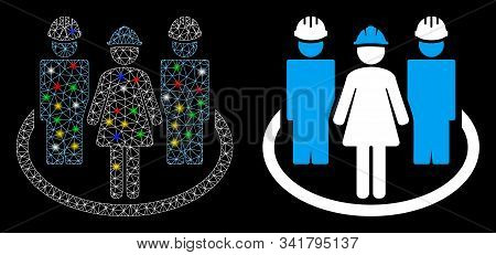 Glowing Mesh Worker Social Relations Icon With Glow Effect. Abstract Illuminated Model Of Worker Soc