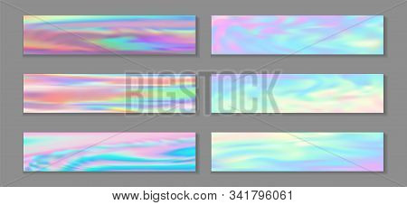 Holography Modern Banner Horizontal Fluid Gradient Unicorn Backgrounds Vector Set. Fairy Holography