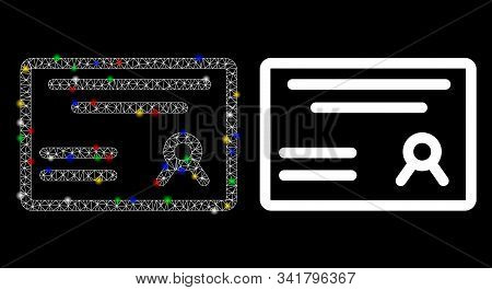 Glossy Mesh Diploma Icon With Glow Effect. Abstract Illuminated Model Of Diploma. Shiny Wire Frame T