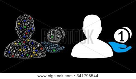 Glowing Mesh Panhandler Icon With Glare Effect. Abstract Illuminated Model Of Panhandler. Shiny Wire