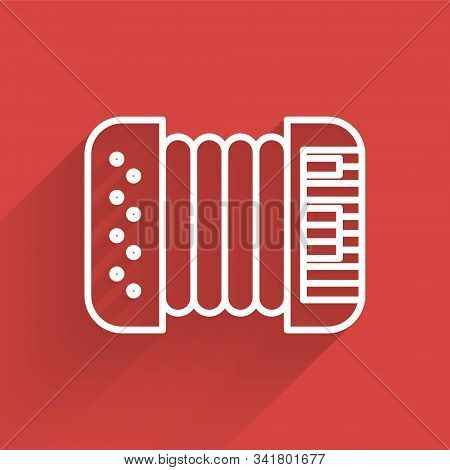 White line Musical instrument accordion icon isolated with long shadow. Classical bayan, harmonic. Vector Illustration poster