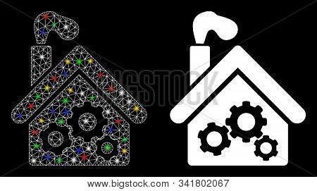Glowing Mesh Smoking Garage Factory Icon With Glitter Effect. Abstract Illuminated Model Of Smoking