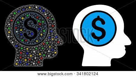 Flare Mesh Banker Icon With Sparkle Effect. Abstract Illuminated Model Of Banker. Shiny Wire Frame P