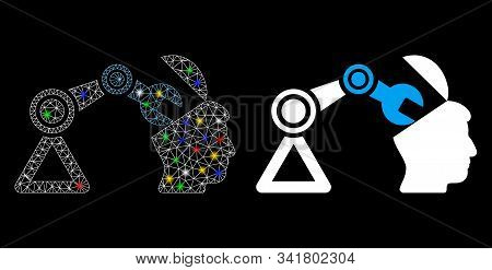 Bright Mesh Open Head Surgery Manipulator Icon With Sparkle Effect. Abstract Illuminated Model Of Op