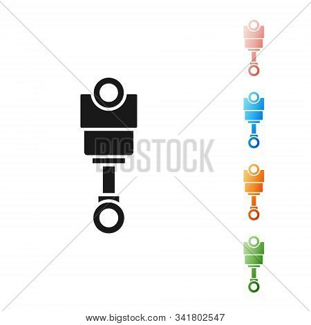 Black Engine Piston Icon Isolated On White Background. Car Engine Piston Sign. Set Icons Colorful. V