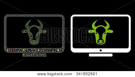 Glowing Mesh Cattle Monitor Icon With Glitter Effect. Abstract Illuminated Model Of Cattle Monitor.