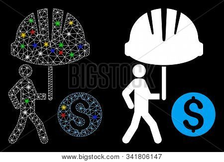 Glossy Mesh Industrial Financial Coverage Icon With Glare Effect. Abstract Illuminated Model Of Indu