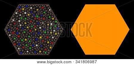 Bright Mesh Filled Hexagon Icon With Glow Effect. Abstract Illuminated Model Of Filled Hexagon. Shin