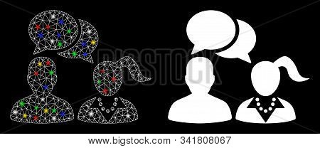 Glowing Mesh People Dating Chat Icon With Glow Effect. Abstract Illuminated Model Of People Dating C