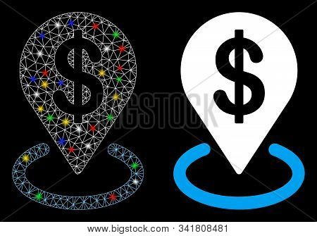 Glowing mesh dollar placement icon with sparkle effect. Abstract illuminated model of dollar placement. Shiny wire carcass triangular mesh dollar placement icon. poster