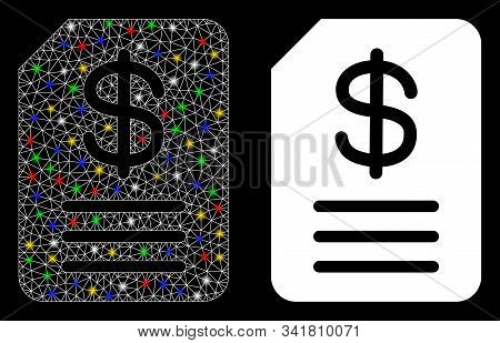 Flare Mesh Budget Invoice Icon With Glow Effect. Abstract Illuminated Model Of Budget Invoice. Shiny