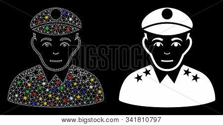 Flare Mesh Army General Icon With Glare Effect. Abstract Illuminated Model Of Army General. Shiny Wi