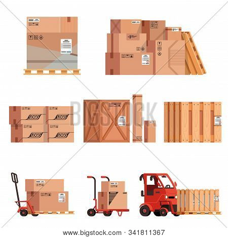Set Of Groups Of Stacked Boxes In Piles. Loaders With Boxes, Crates And Cargo