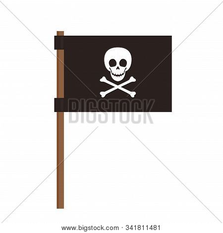 Jolly Roger Or Skull And Cross Bones Pirate Flag. Isolated On White Background.