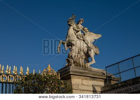 Paris, France - October 30, 2017: The Statue Of Renommee, Or The Fame Of The King, Riding The Horse