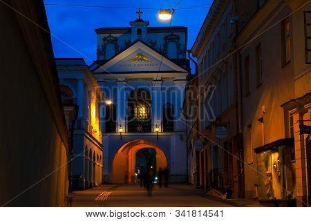 Vilnius, Lithuania - April 24, 2018: Ausros Vartai (ostra Brama, Gate Of Dawn) Chapel At Night. This