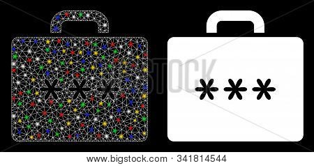 Flare Mesh Cipher Case Icon With Sparkle Effect. Abstract Illuminated Model Of Cipher Case. Shiny Wi