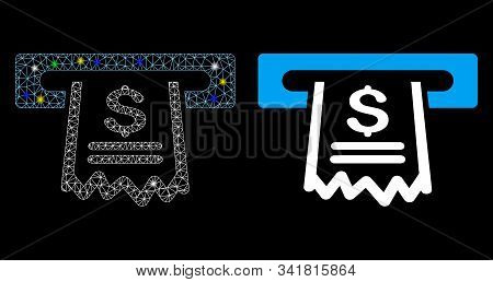 Glossy Mesh Paper Receipt Machine Icon With Lightspot Effect. Abstract Illuminated Model Of Paper Re