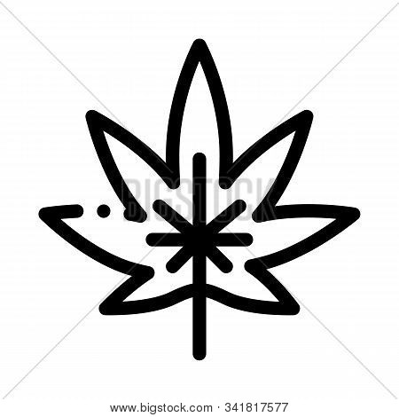 Hemp Plant Leaf Icon Vector. Outline Hemp Plant Leaf Sign. Isolated Contour Symbol Illustration