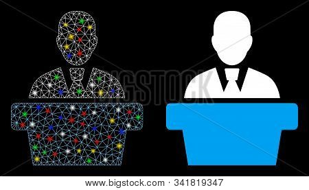 Bright Mesh Politician Icon With Glitter Effect. Abstract Illuminated Model Of Politician. Shiny Wir