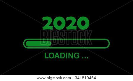 Happy New Year 2020 With Loading Icon. Progress Bar Almost Reaching New Years Eve. Black Illustratio