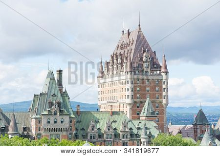 Quebec City, Canada - August 6, 2015:view Of    The Famouse Frontenac Castle In Quebec City During A