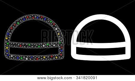 Glossy Mesh Hardhat Icon With Glitter Effect. Abstract Illuminated Model Of Hardhat. Shiny Wire Carc