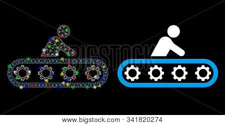 Glowing Mesh Passenger Conveyor Icon With Glow Effect. Abstract Illuminated Model Of Passenger Conve