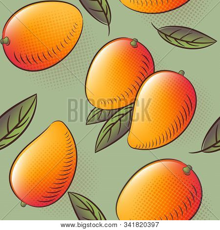 Mango Seamless Pattern. Mango Fruits With Leaves. Engraved Style Vintage Botanical Background. Can B