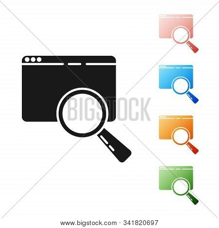 Black Search In A Browser Window Icon Isolated On White Background. Set Icons Colorful. Vector Illus