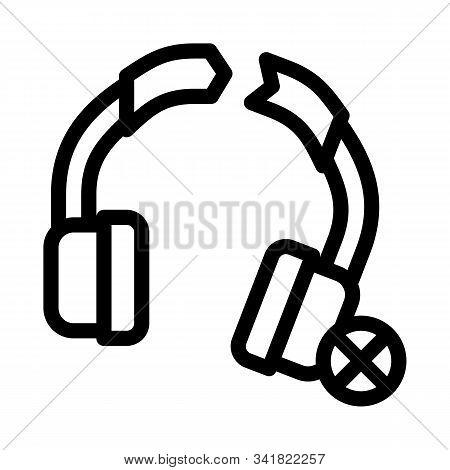 Broken Earphones Icon Vector. Outline Broken Earphones Sign. Isolated Contour Symbol Illustration