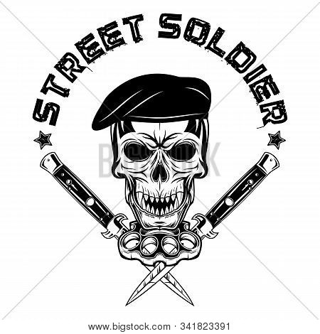 Vector Image Of A Skull In A Beret On The Background Of Brass Knuckles And Flick Knives. Youth Under