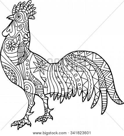 Color Me Folk Art Style Cockerel Bird Doodle.