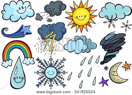 Cute Cartoon Image Set With Happy Weather Doodles.