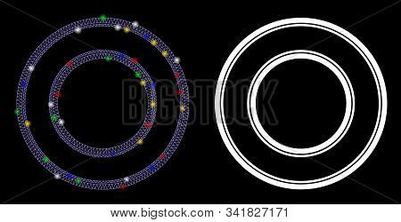 Flare Mesh Double Circle Frame Icon With Glitter Effect. Abstract Illuminated Model Of Double Circle