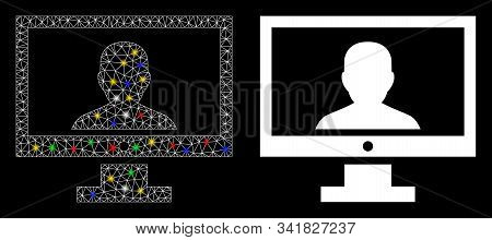 Glossy Mesh Video Blogger Pc Icon With Lightspot Effect. Abstract Illuminated Model Of Video Blogger