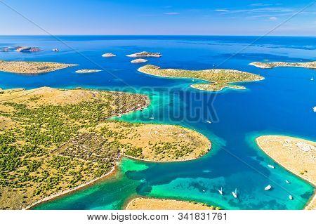 Kornati. Amazing Island Archipelago Landscape Of Kornati National Park Aerial View, Dalmatia Region