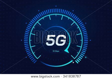 5g Network Wireless Technology. Digital Speed Meter Concept With 5g Icon. High Speed Internet. Neon