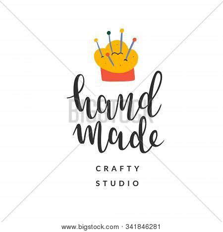 Hand Made Logotype Or Label Sign With Simple Illustration Of Needle Pad, Elegant Handwritten Letteri