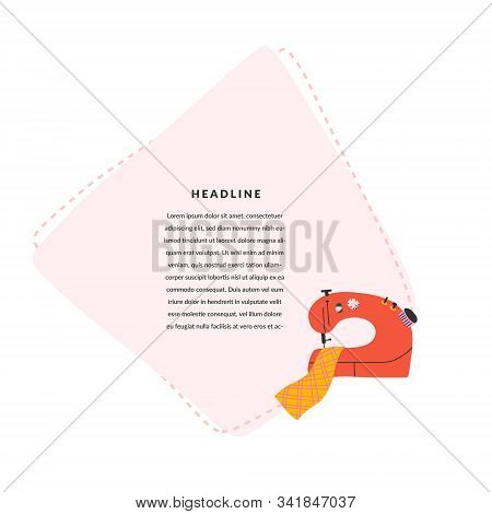 Sewing Banner With Illustration Of Sewing Machine And Blank Space For Text. Copyspace Composition Wi