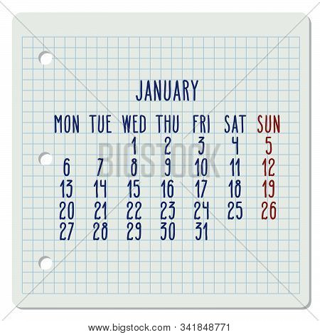 January Year 2020 Vector Monthly Calendar On A Squared Notebook Page. Hand Written Chequered Note Pa