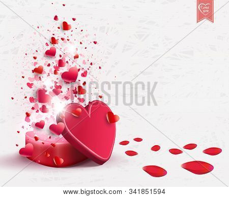 A Light Composition With A Red Casket, Randomly Drawn With A Set Of Hearts And Rose Petals