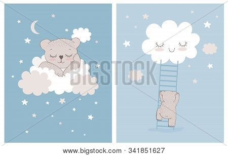 Cute Little Bear Sleeping On A White Fluffy Cloud. Simple Nursery Vector Illustrations With Baby Bea