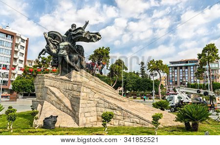 Antalya, Turkey - May 17, 2019: Mustafa Kemal Ataturk Monument On Republic Square In Downtown Antaly