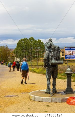San Justo De La Vega, Spain - May 26, 2017: Monument Of A Pilgrim And Pilgrims Rear View In San Just