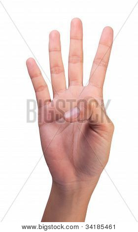 Image Of Counting Woman's Right Hands Finger Number (4 )