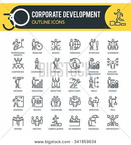 Corporate Development Outline Icons