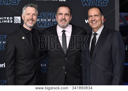 LOS ANGELES - DEC 16:  Matthew Wood, David Acord and Christopher Scarabosio arrives for the 'Star Wars: The Rise of Skywalker' Premiere on December 16, 2019 in Hollywood, CA