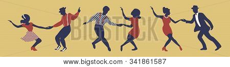Horizontal Banner With Three Dancing Couples Silhouettes In Gold, Red And Blue Colors. People In 194